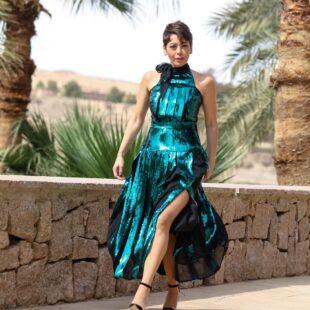 lekaa elkhamissi green dress 01