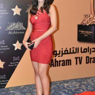 menna arafa red short dress 08